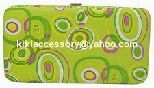 GREEN CIRCLES FLAT OPERA WALLET CLUTCH COIN PURSE TOTE KRISTINE BUSINESS TRAVEL