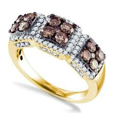 Amazing Look 10K Yellow Gold Chocolate Brown & White Diamond Fashion Ring 1.37ct