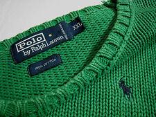 """Vintage 90s POLO RALPH LAUREN (XXL-50""""CH) cotton sweater..bright green-Hong Kong"""