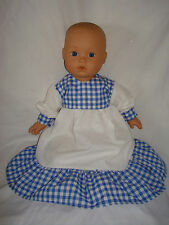 "Blue, White Gingham Polycotton Dress, Frill . Baby Annabell  16"" / 18"" Doll"