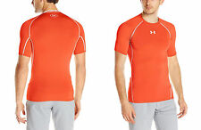 Under Armour Heatgear T-shirt Compressione Uomo RUNNING SPORT Arancione XL NUOVA