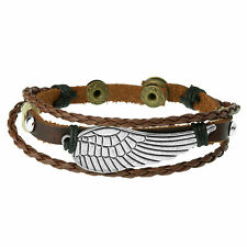 Brown Leather Angels Wing Bead Bracelet For Men Stylish Wristband by Urban Male