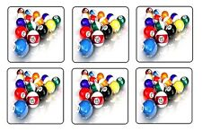 "8 BALL POOL BILLIARD COASTERS 1/4"" BAR & BEER SET OF 6"