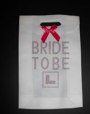 Hen Night Party White Gift Bag for the Bride to Be Goodies Hot Pink Diamante (W)