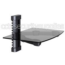 Tempered Glass Rack Shelf Stand Wall Mount Bracket TV DVR DVD Cable Box Black