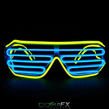 GloFX Luminescence Shutter Frames- Yellow and Royal Blue Rave Light Up Glasses