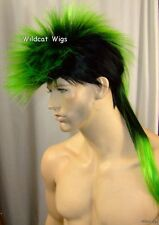 MOHAWK  Quality UNISEX Wig for Men and Women.  Black with Green.  NICE! *