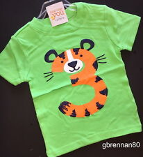 ~NEW~ 3rd Birthday TIGER Baby Boys Shirt 4T Green 3 Years Gift! SS Carters Party