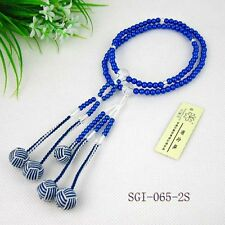 Juzu prayer beads,Blue 108-pearl,double color ball tassel,for SGI Buddhist group