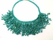 Stephan and Company Silver-Tone Turquoise Seed Bead Branch Statement Necklace