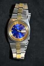 Seiko Automatic Watch DX 17 Jewels 6106-8599 Gorgeous Blue Face Two Tone Band