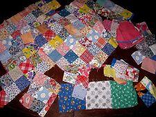 Authentic Vintage Cotton Postage Stamp Block Quilt Pieces Fabric Colorful Scraps
