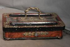 Antique Brass Burl Walnut Ebony Ink Well Stand SNAKE Handle Gothic Victorian OLD
