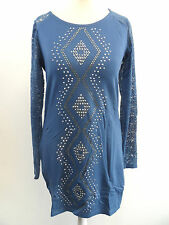 Micro Mini Dress /  Long Lace Sleeve Party Top Blue S / M box7372 D