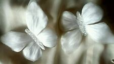 2x12cm BUTTERFLY CLIPS SATIN PEARL IVORY PETALS WEDDING / CELEBRATION DECORATION