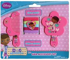 Disney Doc McStuffins Pink Hair Accessory Comb,Mirror,&Ponytail Holders-New!