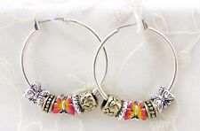 Silver Hoop Earrings Pink Yellow Butterfly Beads Fashion Jewelry New Cute!