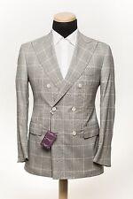 SARTORIA PARTENOPEA NAPOLI Handmade Wool Silk Jacket Checks Gray 40US 50EU 7R