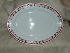 """Large 15"""" PLATTER Crafted in Japan Stylized Christmas Xmas Trees Red & Green"""
