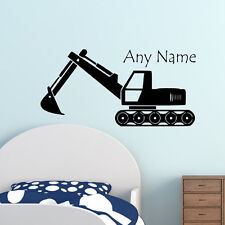 Custom Name Boys Bedroom Sticker Excavator Vinyl Wall Decal Boys Room Decor