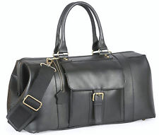 Italian Genuine Leather Duffle Weekender Overnight Holdall Travel Men Bag Women