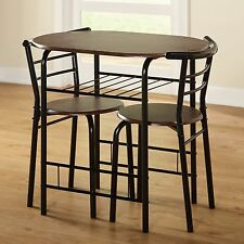 Bistro Set Dining Kitchen Furniture 3 Piece Table Chairs Compact Espresso Indoor