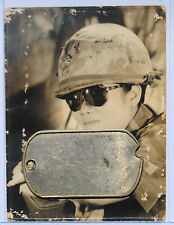 Wartime ARVN Soldier Studio Picture w Graffitied Camouflage Helmet Cover