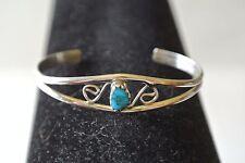 Navajo Sterling Silver Turquoise Infants Bracelet Original/Nice