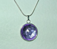 SIMPLE FACETED PURPLE ACRYLIC CRYSTAL PENDANT SILVER PL MOUNT & ROUND CHAIN
