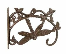 Cast Iron Dragonfly Bracket Hanger Basket Pot Lamp Hook Solid Antique Rust SREDA