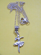 "BALLERINA Dancer Necklace Ballet DANCING Charms Kids Size 19"" Silver Chain NEW!"