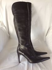 Ladies Moda In Pelle Black Leather Over The Knee High Heel Boots. SIZE 4