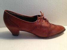 MARY QUANT Ladies VINTAGE tan ALL LEATHER lace up shoes UK 6 1/2