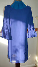 NEW M&S Limited Sz 8-10 cobalt Blue chiffon Dress Pleated Sleeves Party Gift