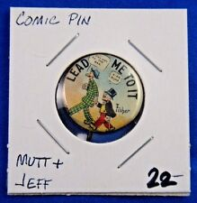 """Vtg Mutt and Jeff """"Lead Me To It"""" Cigarette Advertising Pin Pinback Button 7/8"""""""