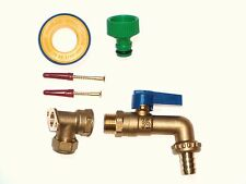Brass Lever Outside Tap Kit. With Brass Wall Plate Elbow & Garden Hose Fitting