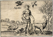 Stile Vintage in raso TAPESTRY-I GRECI Dio Apollo da wenceslas hollar 1657c