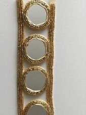 ATTRACTIVE & UNIQUE ROW OF LARGE MIRRORS ON GOLD BRAID LACE/TRIM - Sold By Meter