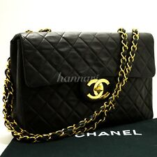 "Authentic CHANEL 13"" Maxi XL Jumbo Black 2.55 Flap Chain Shoulder Bag Lamb d55"