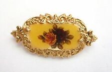 PRETTY 1928? ROSES FLOWER CAMEO PIN W/ORNATE GOLD TONE EDGES