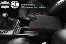 RED STITCH REAL SUEDE GEAR HANDBRAKE & ARMREST COVER FITS BMW E46 1999-2005