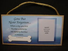 In Memory of DOG RAINBOW MEMORIAL photo picture frame WOOD PLAQUE puppy sign