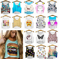 Womens Summer Ladies Cami Casual Vest Tank Tops Shirts Crop Tops Cami Beach Wear