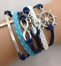 NEW Retro Infinity Cross Wheel Anchor Leather Charm Bracelet plated Silver  W22
