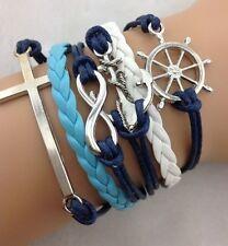 NEW Infinity Cross Anchor Wheel Friendship Leather Charm Bracelet Silver Cute !!