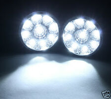 2 x 9 LED Round Daytime Running Driving Light DRL Car Fog Lamp Head Light White