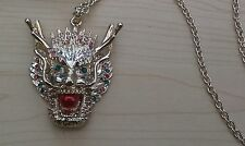 BNWT-Extra Long-Chinese Dragon Head Pendant on Gold Tone Chain-Drop 35 cm