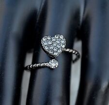 Pave Cubic Zirconia Heart  Ring  Black Rhodium Plated Love  Bridal Knuckle