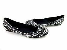 STEVE MADDEN WOMEN'S KUDDOS BALLET FASHION FLATS BLACK/SILVER FABRIC US SIZE 9 M
