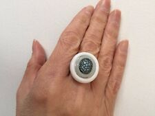 Genuine Carved White Agate, Amazonite & Blue Topaz Modern Ring Silver Size 6.75